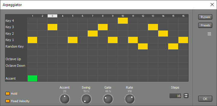 Arpeggiator window