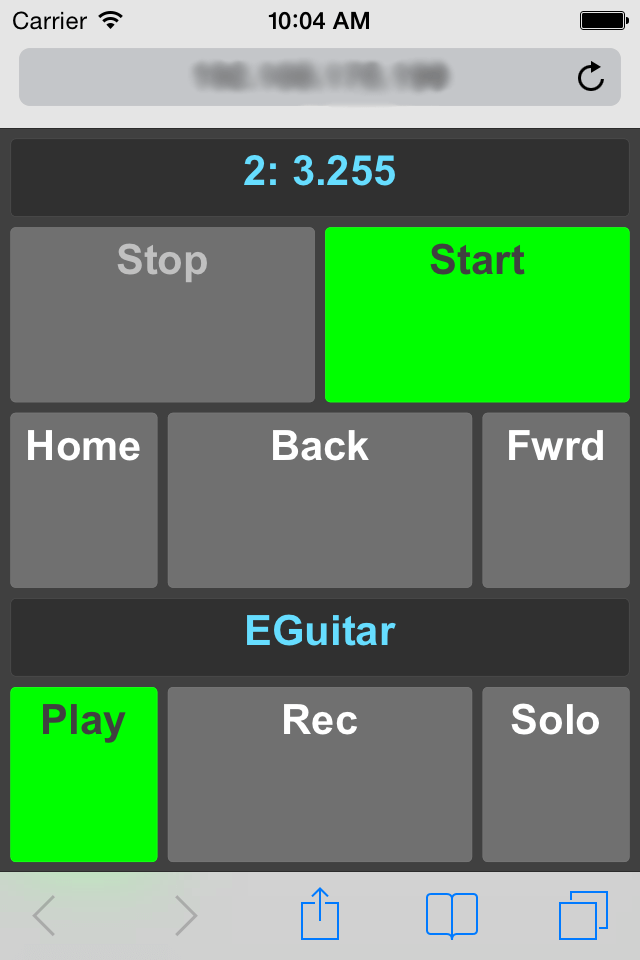 iPhone controlling MultitrackStudio
