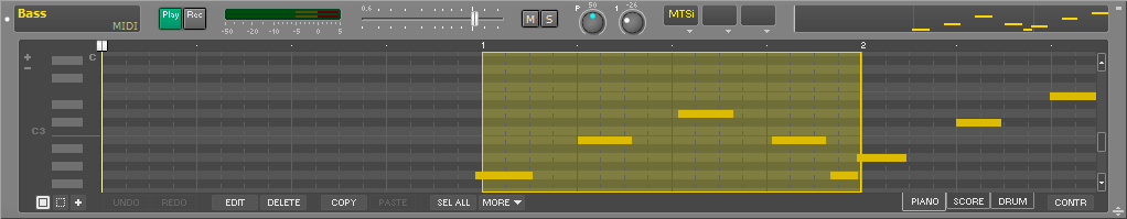 MIDI track with pianoroll editor
