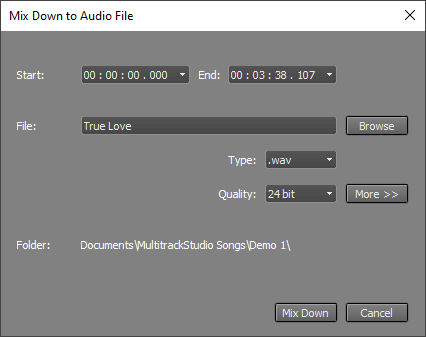 Mix Down to file window