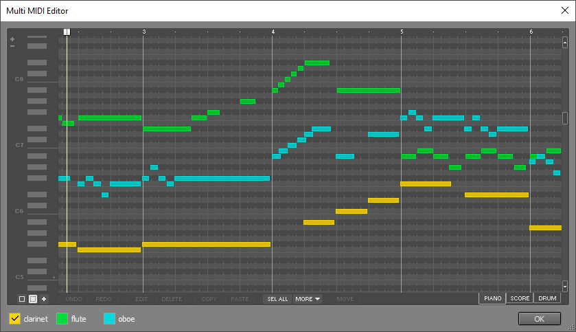 Multi MIDI Editor window, showing 3 tracks in pianoroll view