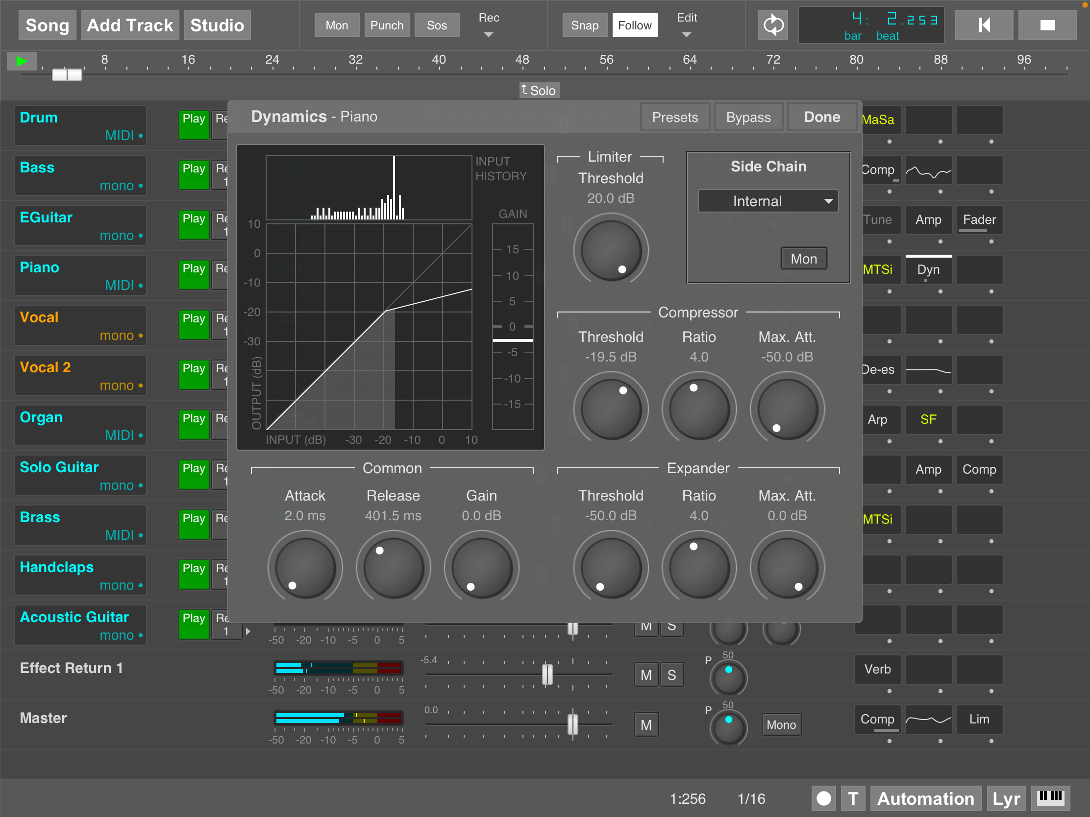 MultitrackStudio for iPad - Dynamics effect