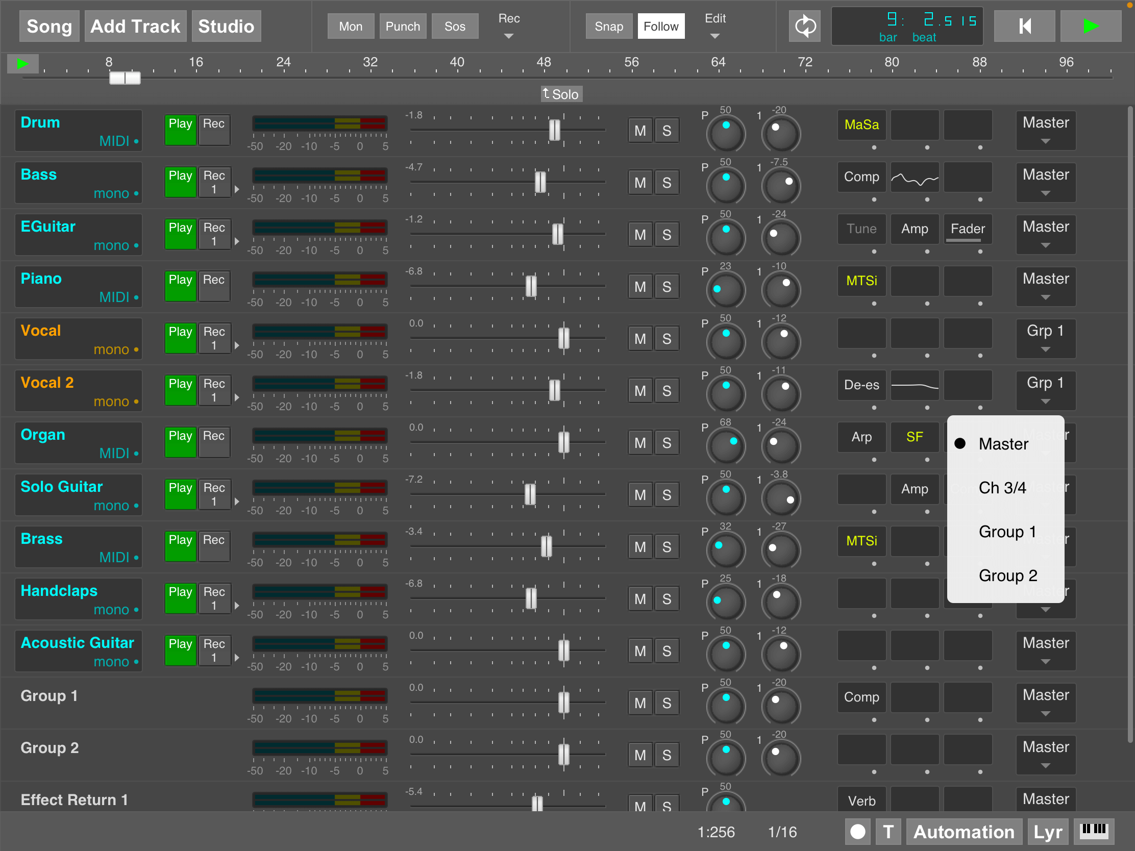MultitrackStudio for iPad - Two Group sections and four analog outputs