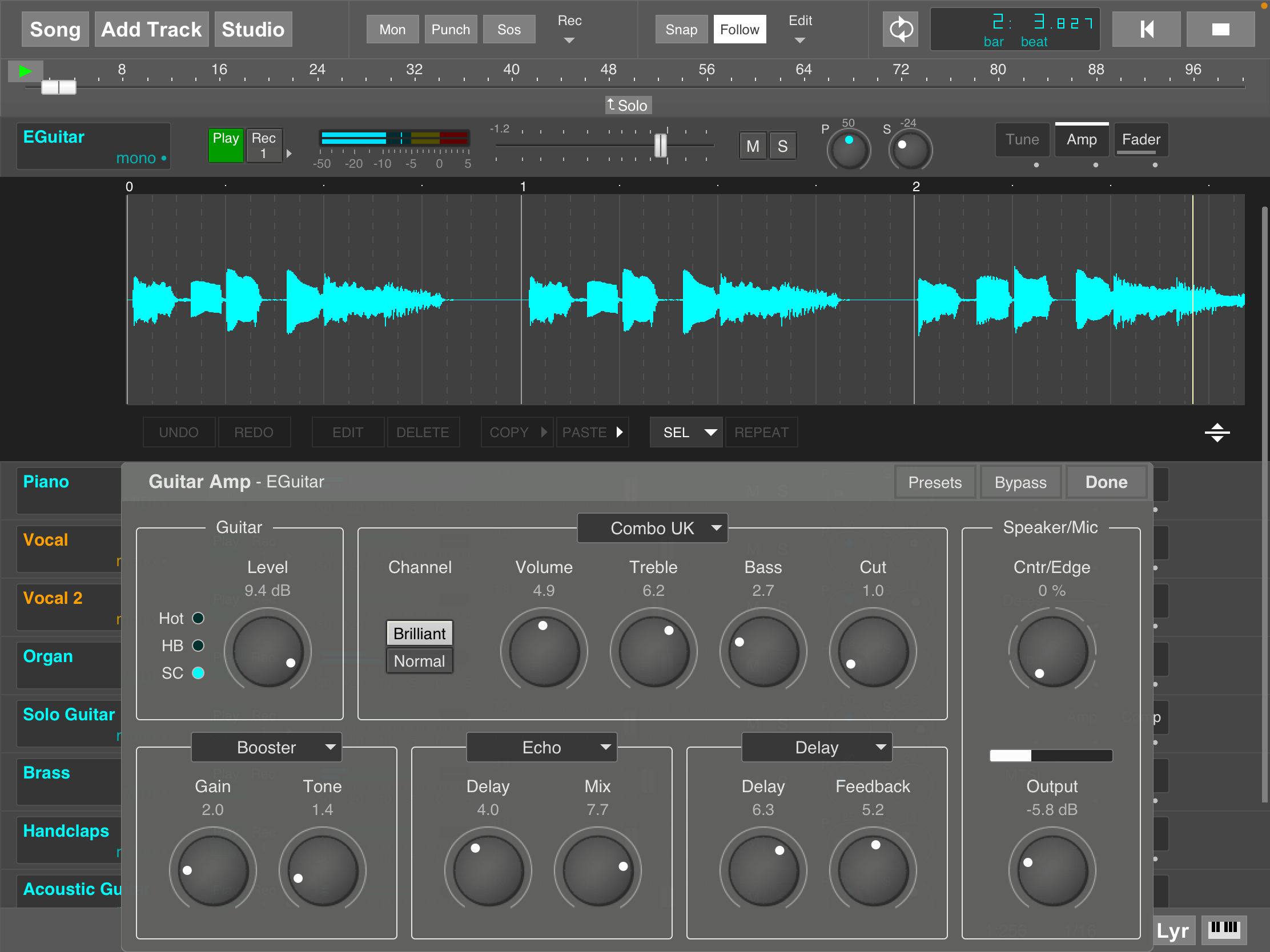 MultitrackStudio for iPad - Guitar Amp effect