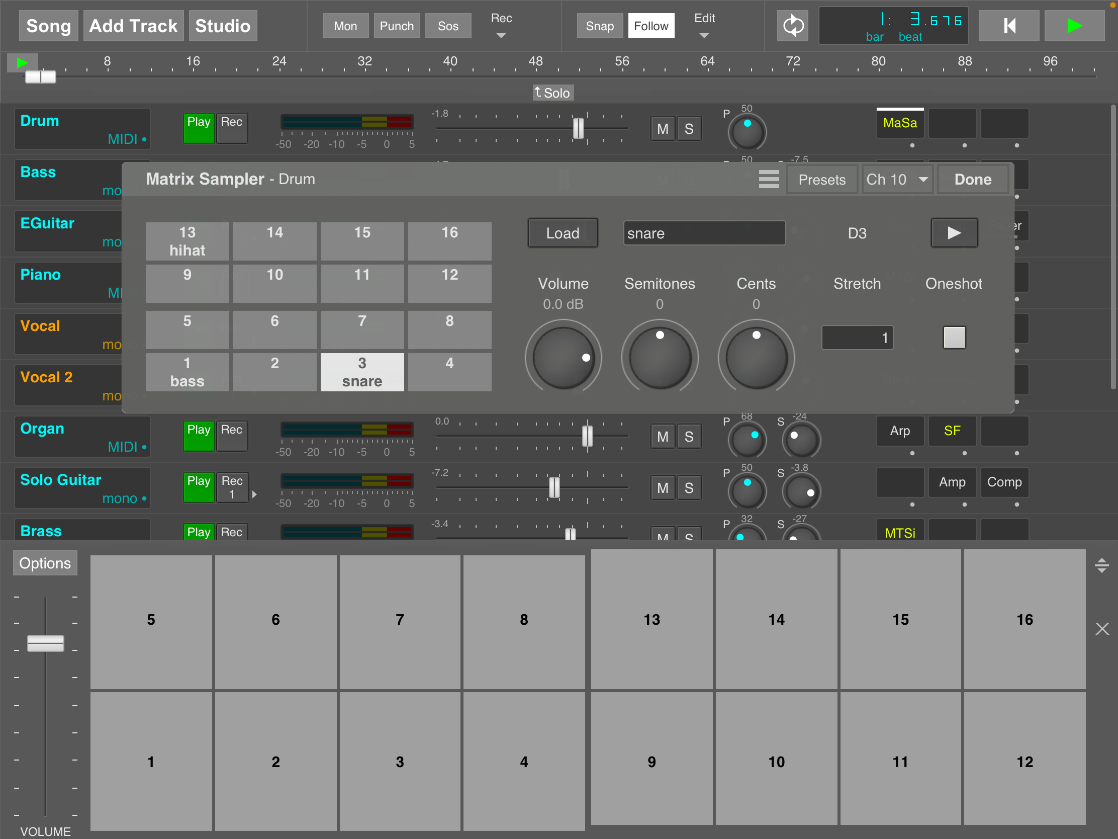 MultitrackStudio for iPad - Matrix Sampler and matrix keyboard