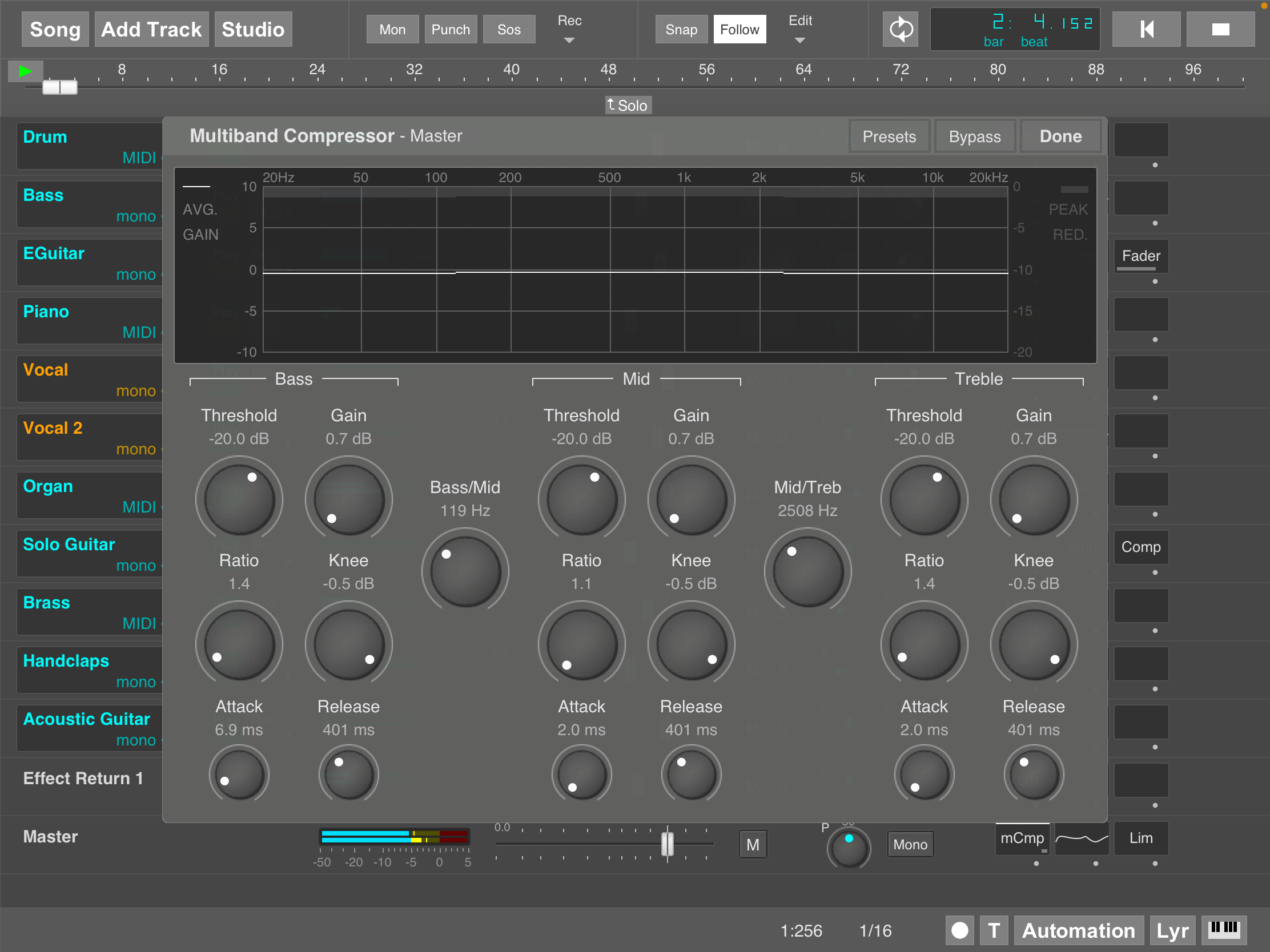 MultitrackStudio for iPad - Multiband Compressor effect