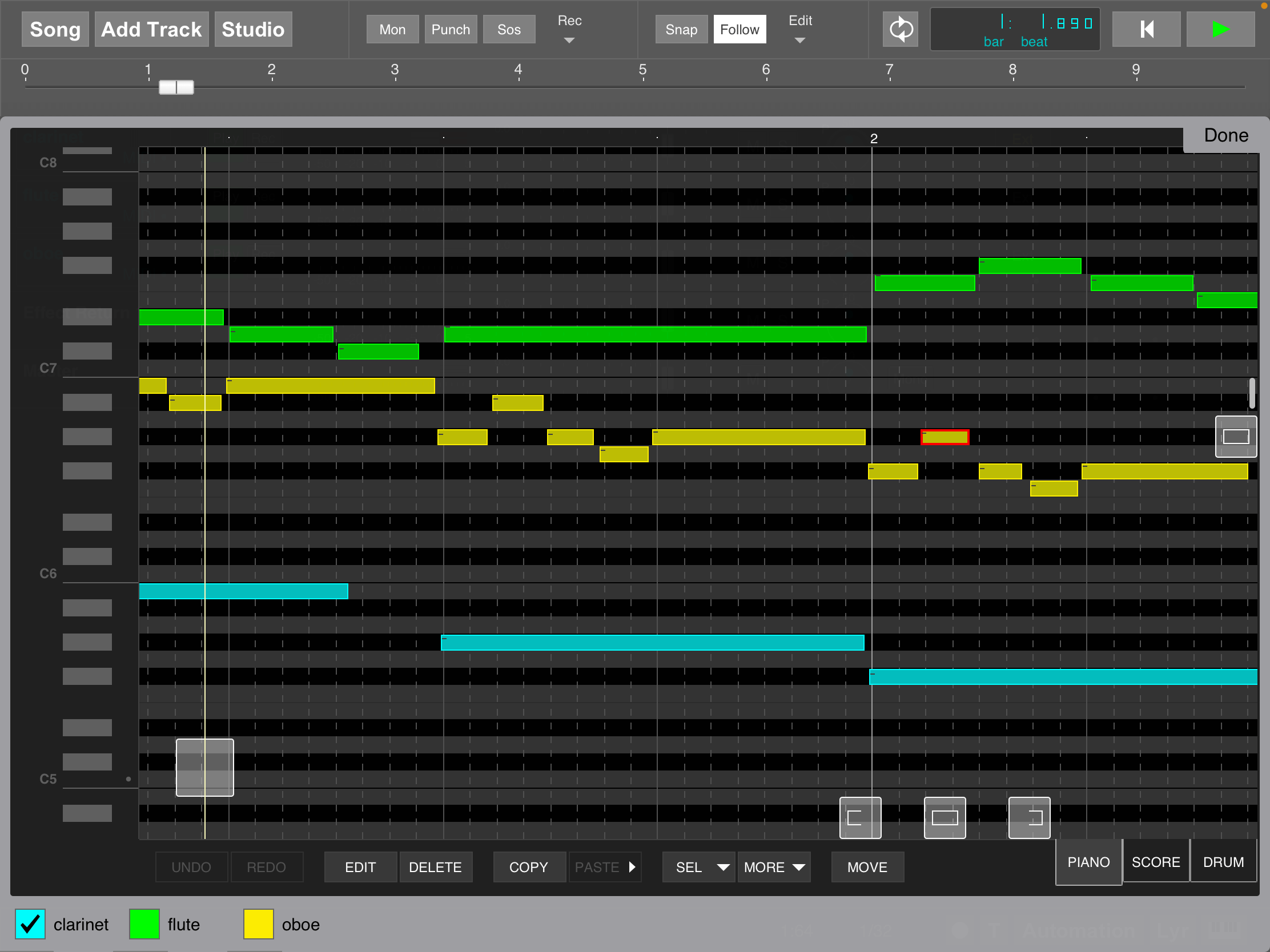 MultitrackStudio for iPad - Multi MIDI Editor (pianoroll)
