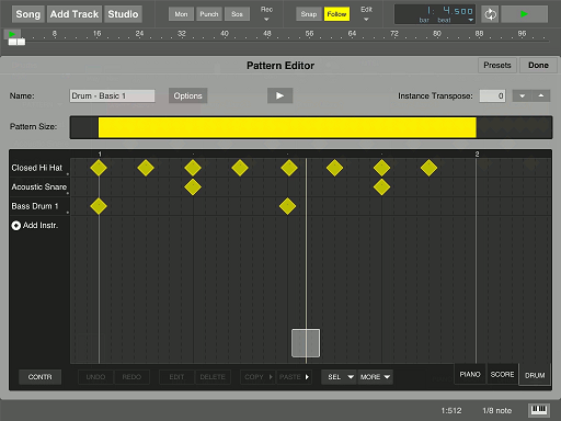 MultitrackStudio for iPad - MIDI pattern editor