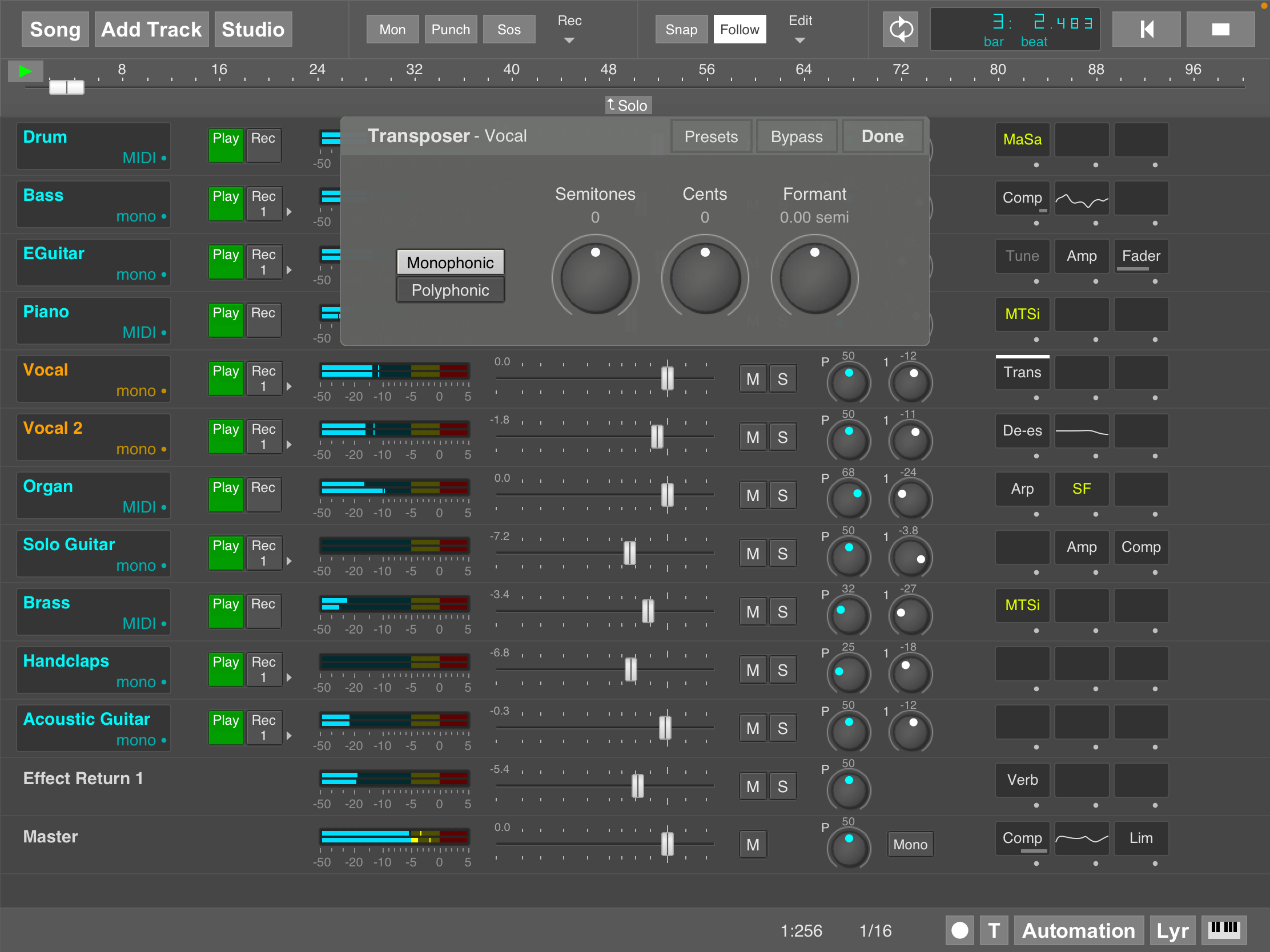MultitrackStudio for iPad - Transposer effect