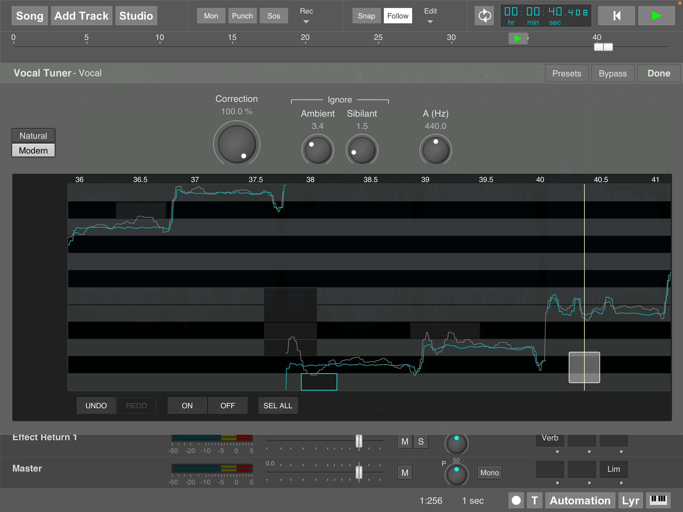 MultitrackStudio for iPad - Vocal Tuner effect