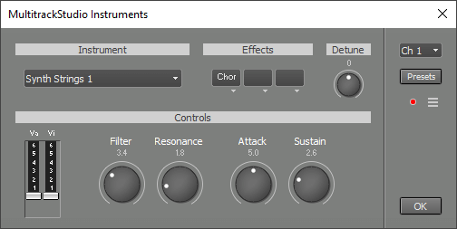 MultitrackStudio Instruments window (Synth Strings 1)