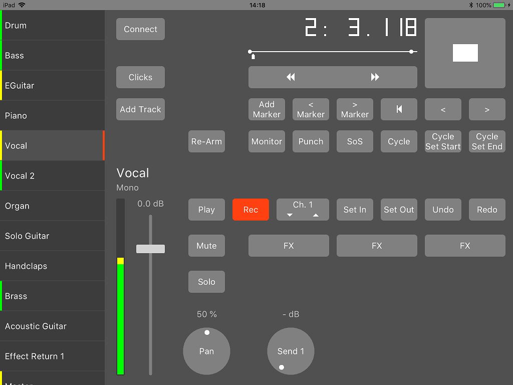 MultitrackStudio Remote, recording a track