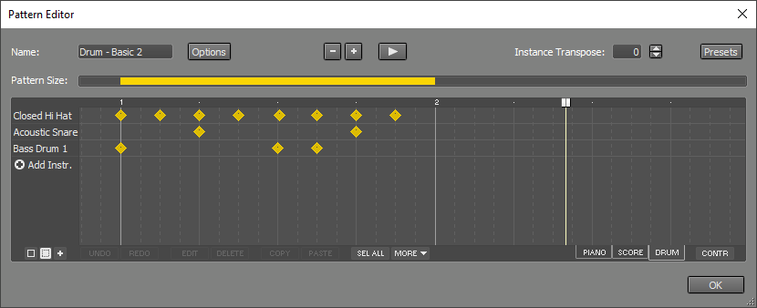 Pattern Editor (showing a one bar drum pattern)